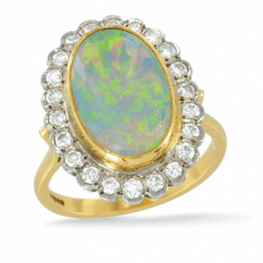 18ct Opal+Diamond Cluster Ring