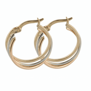 Classic Hoops in Three Tones of Gold