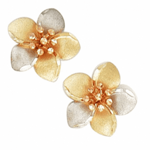 9ct 3 Coloured Gold Flower Stud E/R