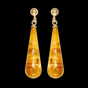 9ct Gold and Amber Briolette Earrings