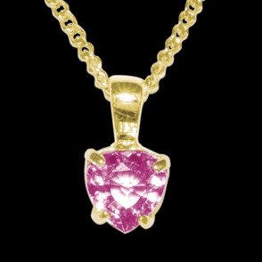 Ladies Shipton and Co 9ct Yellow Gold and Pink Sapphire Pendant including a 16 9ct Chain PY2011PS