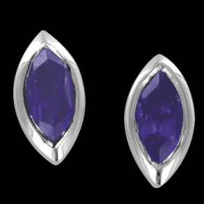 Ladies Shipton and Co Exclusive Silver and 8x4mm Marquise Amethyst Flush Set Earrings EQA017AM