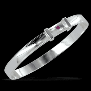 Ladies Shipton and Co Silver Diamond Cut Pink Sapphire Bangle TOJ199PS