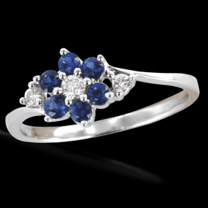 Sapphire & Diamond Flower Duet Ring