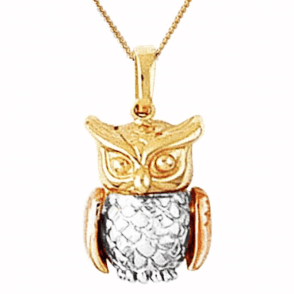 9ct Tonal Gold Owl with Movable Wings