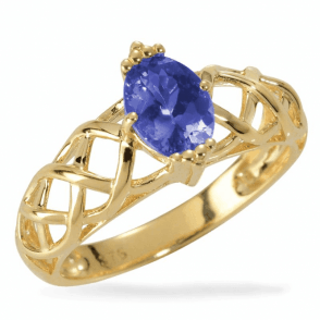Sungold Celtic Setting of Precious Tanzanite
