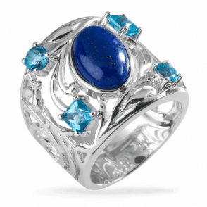 Nouveau Ring of Lapis Lazuli and Blue Topaz