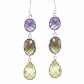 Ladies Shipton and Co Silver and Amethyst and Smokey Quartz and Citrine Faceted Double Sided Briolette Drop Earrings TMV048MU