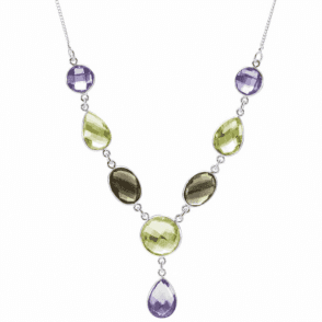 Ladies Shipton and Co Silver and Amethyst and Smokey Quartz and Citrine Faceted Double Sided Briolette Drop Necklace TMV049MU