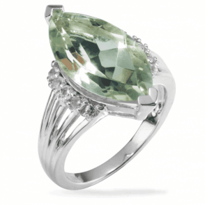Ladies Shipton and Co Silver and Green Amethyst  Ring RQA332GMWT