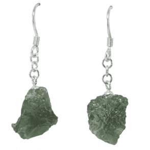 Ladies Shipton and Co Silver and Natural Rough Moldavite Drop Earrings TYS114MV