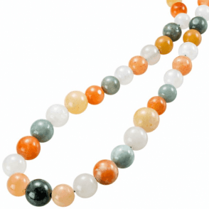 Ladies Shipton and Co Exclusive Silver and Graduated Multi Coloured Jade Beads 30 Inches Long BSS064JJ