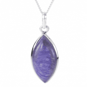 Ladies Shipton and Co  Silver and Marquise Charoite  Pendant including Silver Chain  TMV044CX