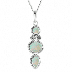 Nile Pendant with Iridescent Cabochons of Ethiopian Opals