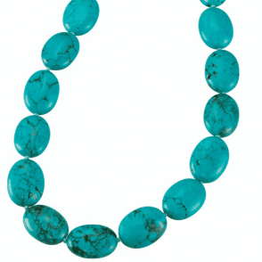 Ladies Shipton and Co Exclusive Silver and Large Oval Turquoise Beads 28 Inches Long BSS079TQ
