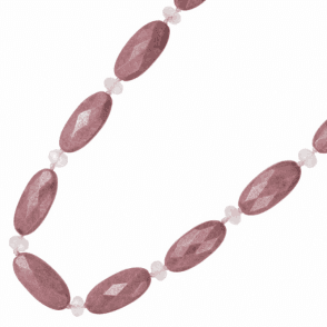 Ladies Shipton and Co Exclusive Silver and 35x15mm Oval Faceted Rhodonite and Rose Quartz Beads 28 Inches Long BSS084RDRQ