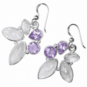Ladies Shipton and Co Silver and Moonstone and Amethyst Earrings TMO006MSAM