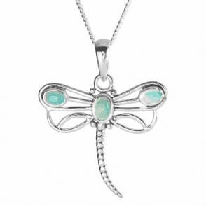 Lucky Dragonfly Pendant of Abyssinian Opal