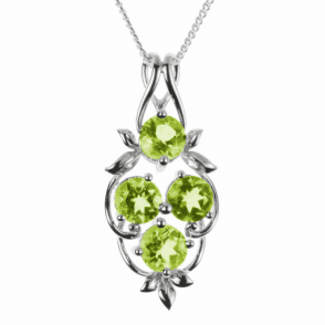 Ladies Shipton and Co Exclusive Silver and four 8mm Round Peridot Pendant including a 16 Silver Chain PQA340PE
