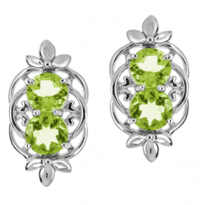 Ladies Shipton and Co Silver and Two 8mm Round Peridot Clip Fitting Earrings for Unpierced Ears EQA340PE=C