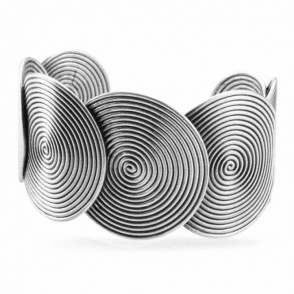 Ladies Shipton and Co Silver Wide Spirals Cuff Bangle TFE019NS