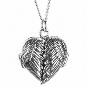 Ladies Shipton and Co Silver Angel Wings Heart Locket TPE002NS