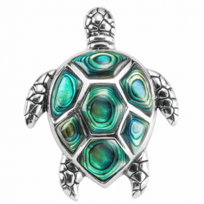 Paua & Sterling Silver Turtle Brooch
