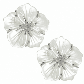 Ladies Shipton and Co Silver and Carved Mother of Pearl Flower Clip Fitting Earrings for Unpierced Ears TTL240PM