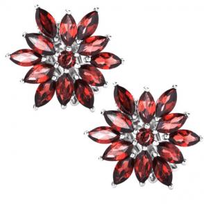 Archive-Inspired Garnet Dahlia Earrings - Clip