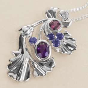 Ladies Shipton and Co Exclusive Silver Amethyst and Rhodolite Garnet and Iolite Gingko Pendant including a 16 Silver Chain PQA346MU5