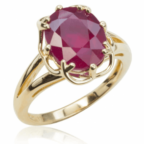 Ladies Shipton and Co Exclusive 9ct Yellow Gold and Filled Ruby Claw Set Ring RYG046RU