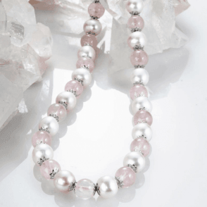 Ladies Shipton and Co Silver and 10mm Rose Quartz and White Freshwater Pearls Beads 19 Inches Long TEN019RQFP