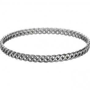 Ladies Shipton and Co Silver S Weave Bangle TDA061NS