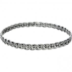 Ladies Shipton and Co Silver Y Motif Plait Bangle TDA062NS