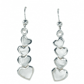 Ladies Shipton and Co Silver and Four Graduated Mother of Pearl Hearts Drop Earrings TDA077PM