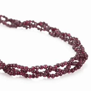 Ladies Shipton and Co Exclusive Silver and Three Strands of Woven Garnet Beads 18 Inches Long BSS089GR