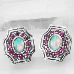 Archive Design of Opals & Rubies Clip Earrings