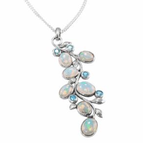 Cascade Pendant of Pastel Opals & Blue Topaz
