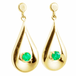 Ladies Shipton and Co 9ct Yellow Gold and 3mm Round Emerald in Sculpted Loop Drop Earrings TEM027EM
