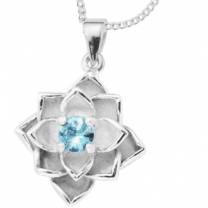 Lotus Blossom Design of Blue Zircon