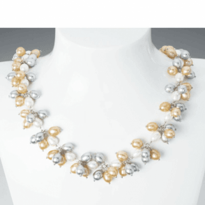 Ladies Shipton and Co Silver Grey and Champagne Freshwater Pearls Necklace TFE040FP