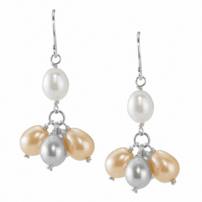 Ladies Shipton and Co  Silver White Grey and Champagne Freshwater Pearls Drop Earrings  TFE042FP