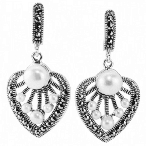 Silver Palm Leaves FWP+Marcasite Drop E/R