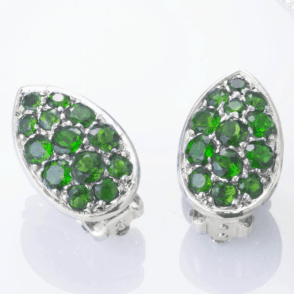 Ladies Shipton and Co  Silver Green Fire Diopside Pave Teardrop Shaped Clip Fitting Earrings for Unpierced Ears   EQA391DO=C