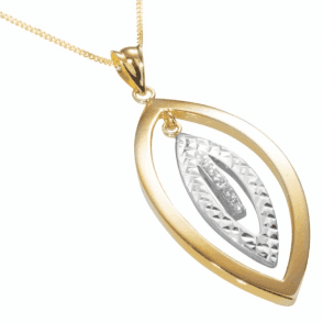 """Ladies Shipton and Co  9ct Yellow and White Gold Linked Marquise Shapes Cubic Zirconia  Pendant including a 16"""" 9ct Chain  TEM035CZ"""
