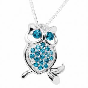 London Blue Topaz & White Topaz Owls