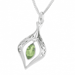 Ladies Shipton and Co Silver and Marquise Peridot Art Nouveau Pendant including a 16 Silver Chain TSS168PE