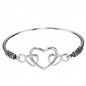 Ladies Shipton and Co Silver Hearts Motif Top Bangle TDA112NS