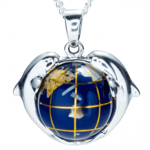 Ladies Shipton and Co Silver and Double Dolphins Holding a Globe Pendant including a 16 Silver Chain TPE062NS