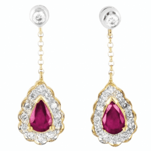Classic Diamond & Ruby Gold Earrings